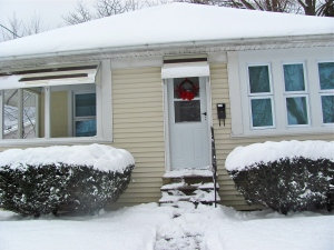 our little home covered in snow