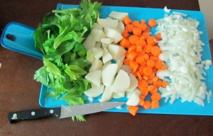 carrots, onion, potato, and celery leaves