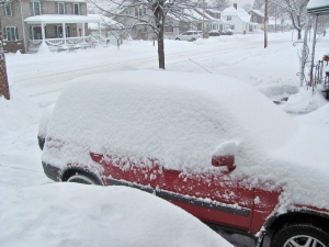 My car this winter in the snow