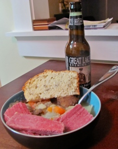 A very Irish dinner complete with Luke's Irish red ale (I had hard cider).