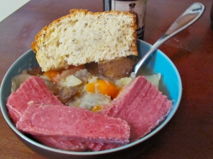 Homemade corn beef, cabbage/potatoes, and irish soda bread