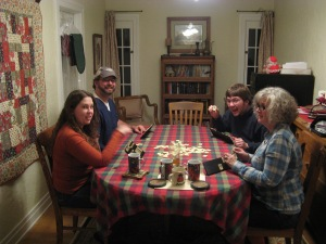 Playing Rummikub with  family at Christmas 2011